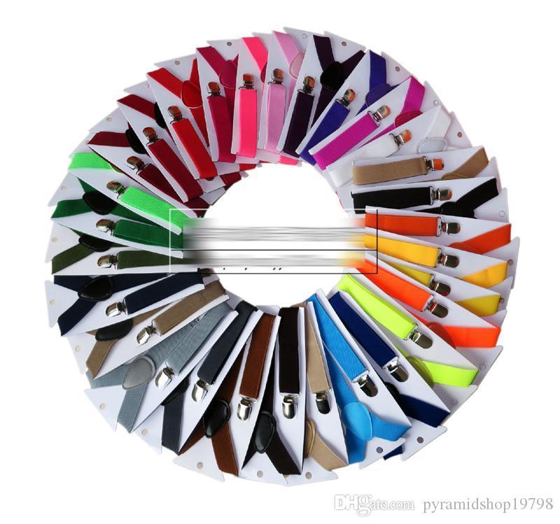 29 couleurs Enfants Jarretière clipser Y Retour Garçons Filles Enfants bébé réglables élastiques solides bretelles Braces enfants 2,5 * 65cm Suspenders