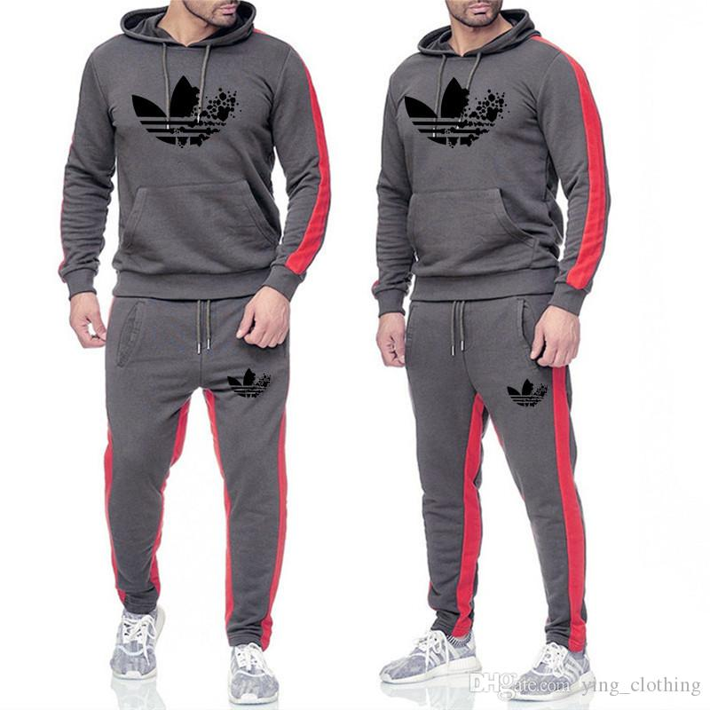 Brand Men Hoodies Fall Winter Tracksuit 2 Piece Set Tops+Pants Hooded Sports Suit Long Sleeve Outfits Shirt+Leggings Fashion Clothing 1724