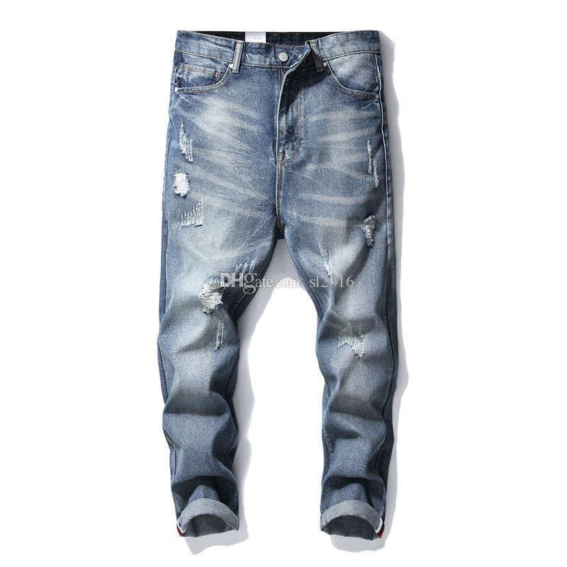 Уличная мода Мужские джинсы Robin Vintage Blue Color Skinny Разрушенные рваные джинсы для мужчин Сломанные панк-брюки Homme Хип-хоп Мужские джинсы