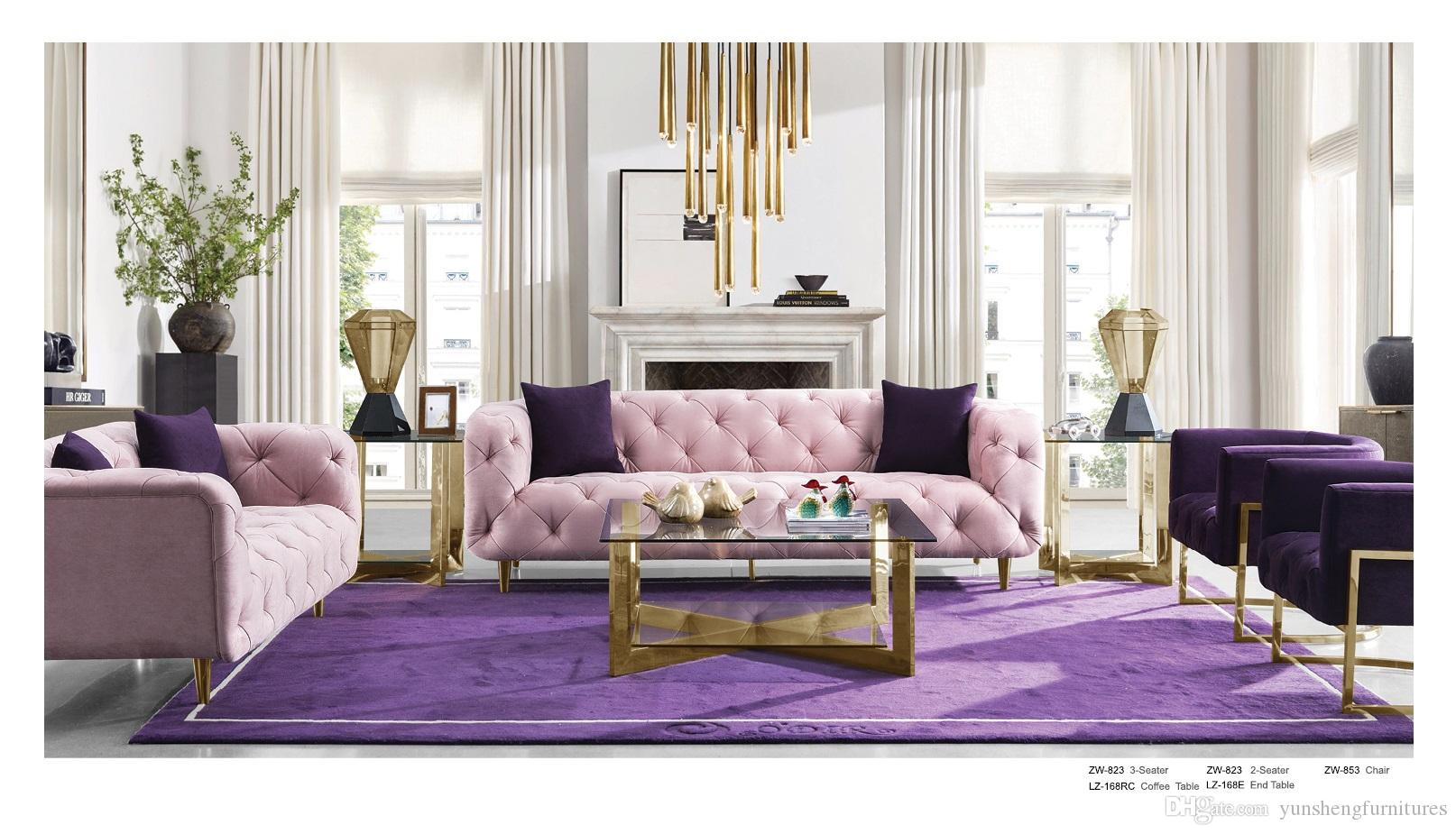 Enjoyable 2019 Velvet Chesterfield Sofa Design For Living Room Living Room Furniture Modern Antique Pink Use Loveseat Three Seat From Yunshengfurnitures Alphanode Cool Chair Designs And Ideas Alphanodeonline