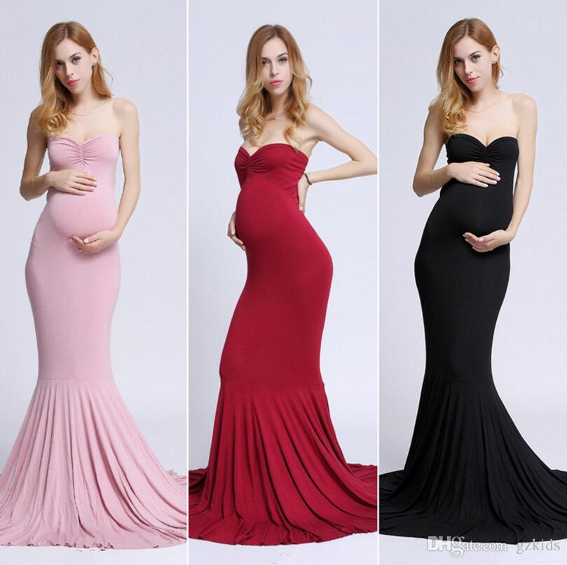 Pregnant Women Long Skirt Europeans and Americans pure-color breast-wiping and folding ground long skirt for pregnant women photographing p
