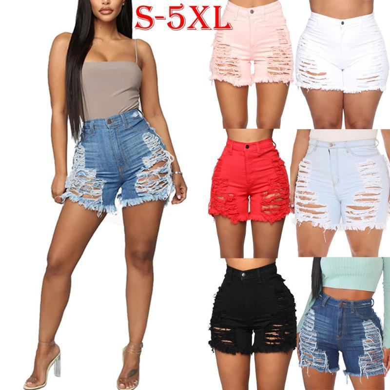 jeans woman 2020 Summer Blue high waist Holey Hollow Up Tassels Jeans ladies Ripped stretch skinny shorts Pants#G4