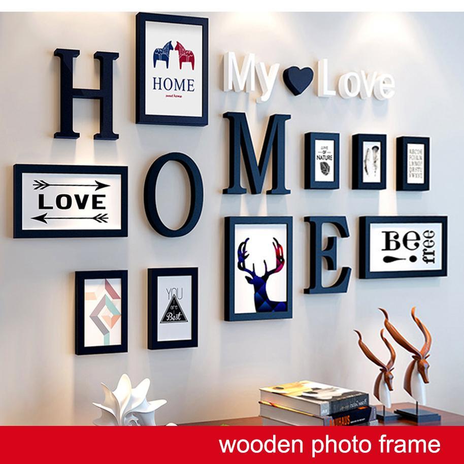 إطارات خشبية تحتوي على خطابات جدار غرفة المعيشة إطار الصورة مع رسائل جدار الفن إطار الصورة ديكور المنزل