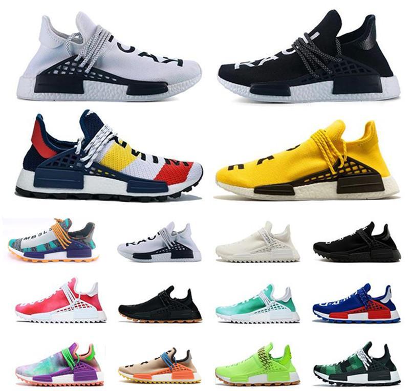 Toptan NMD insan ırkı Erkekler Kadınlar Ayakkabı Koşu Digijack Mavi Ekose Nerd Nobel mürekkep Pharrell Williams Hu iz Runner Spor Sneaker 5-12,5