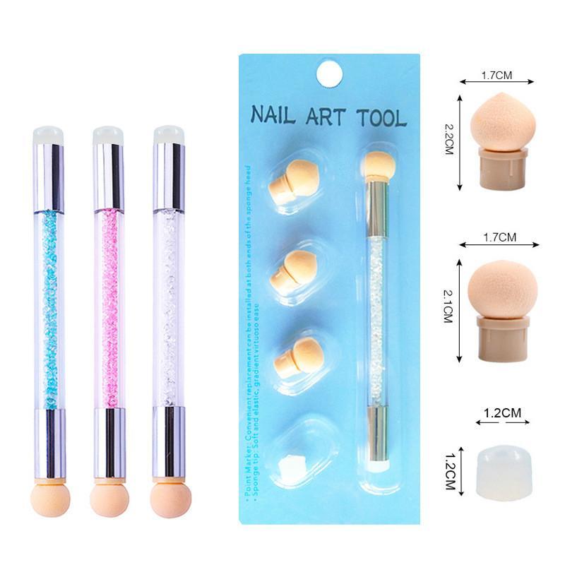Nuovo silicone di spugna di alta qualità 3D nail art mini strumento di stampa con diamante macchia penna di stampa strumento per lo styling manicure fai da te