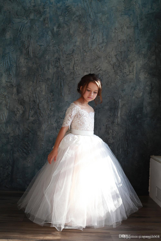 Blanc Ivoire robe de bal robes de demoiselle pour les mariages Tulle princesse dentelle demi-manches Saint Première Communion Robes