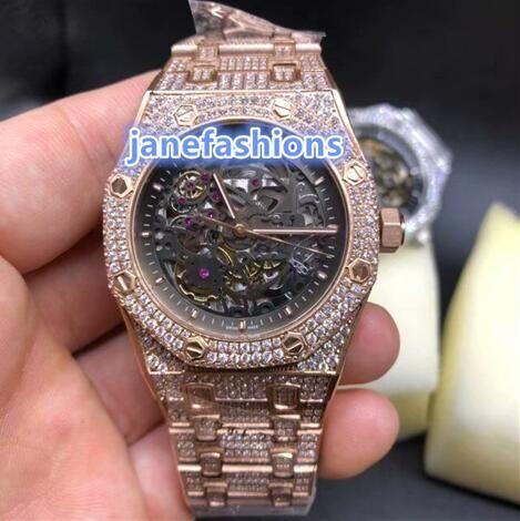 Montres de luxe pour hommes en or rose boutique montre de diamants de la mode de luxe montre automatique à glace en diamant global