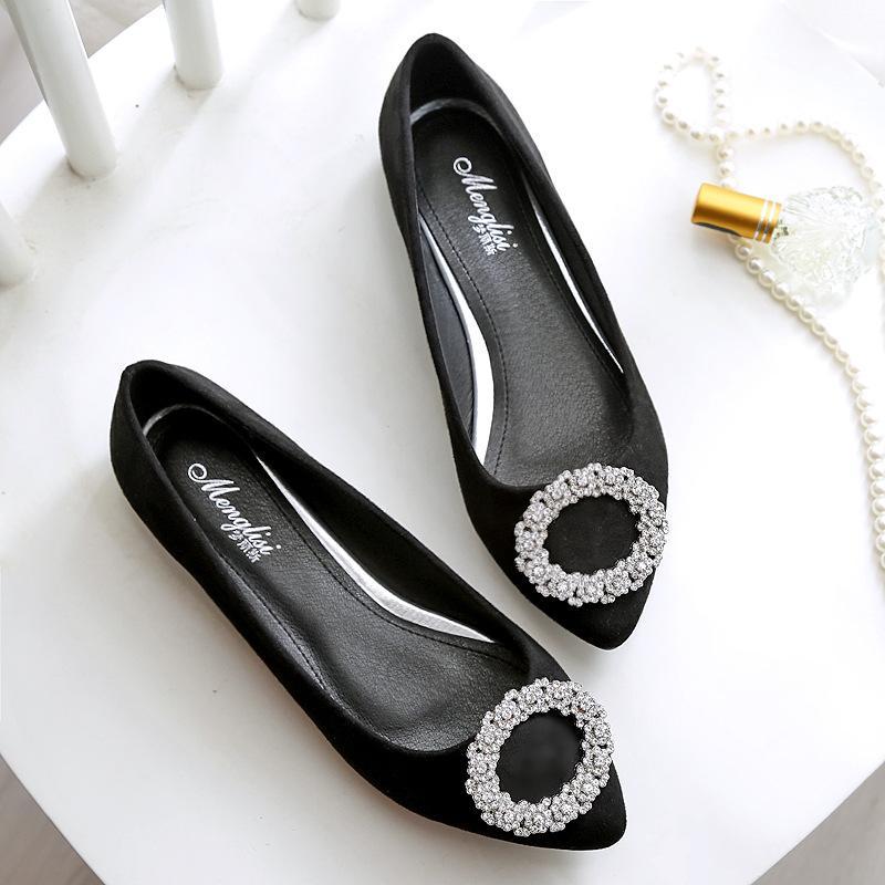 33-44 grande taille troupeau de cristal décoration cricle femmes appartements socofy chaussures de conduite mocassins pointus orteil mules strass femme NS64