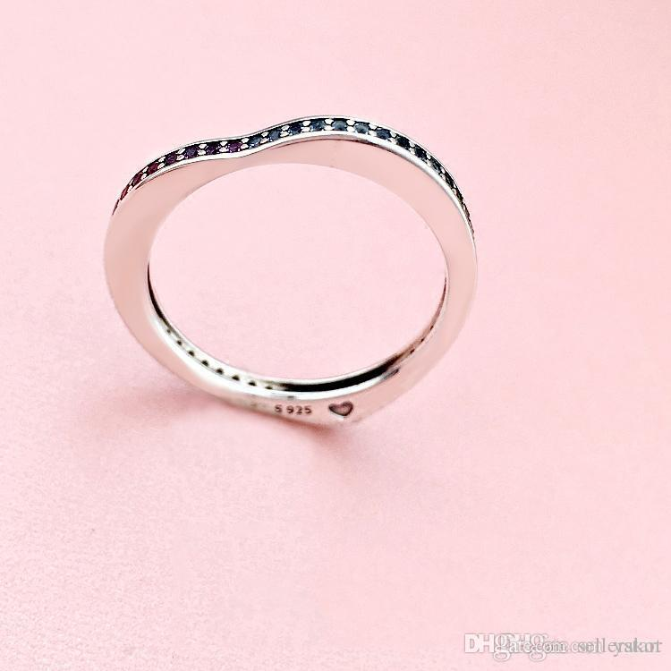 NEW Color CZ Diamond Heart RING Set Gift Original box for Pandora 925 Sterling Silver Fashion Wedding Rings for Women