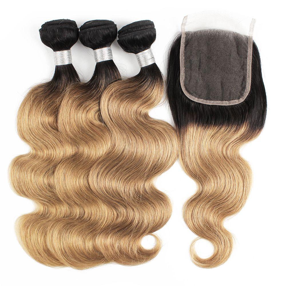 T1B27 인간의 머리카락 3 번들 4 * 4 레이스 폐쇄 바디 웨이브 꿀 금발 옴 브레 컬러 레미 브라질 짜기 두 배 위사 흘리지