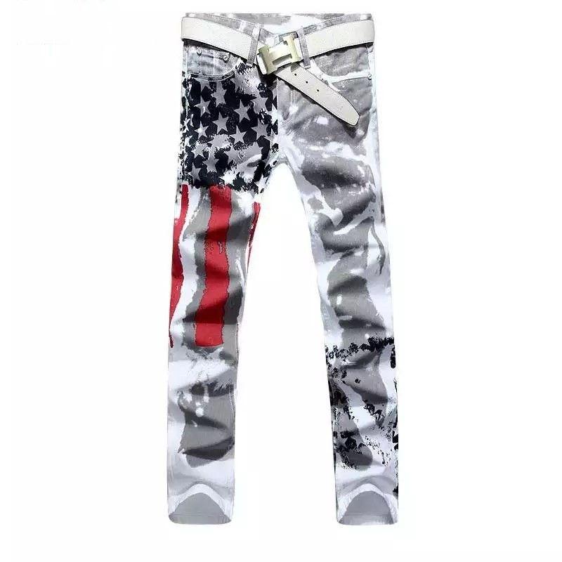 além da marca tamanho calças dos homens 2020 novos homens brancos da moda impressos calças de brim impressão elástica calças jeans bandeira americana