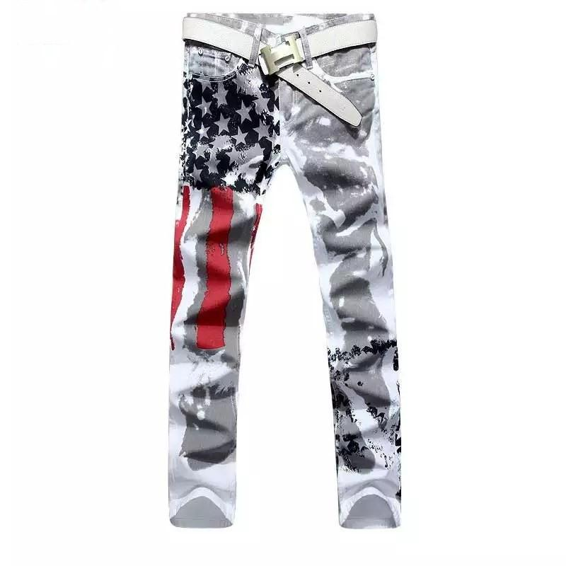 plus size brand men's pants 2020 new white printed fashion men jeans elastic printing American flag jeans
