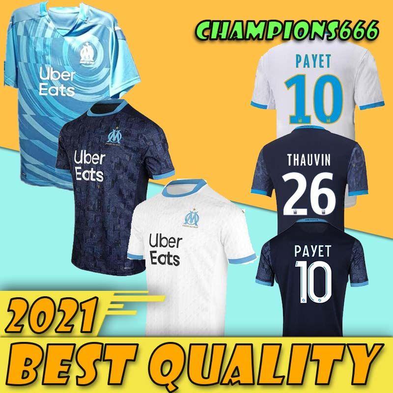 Thaïlande Maillot OM Olympique de Maillot de football 2020 2021 Marseille Maillot de pied BENEDETTO PAYET L GUSTAVO 20 21 chemises THAUVIN