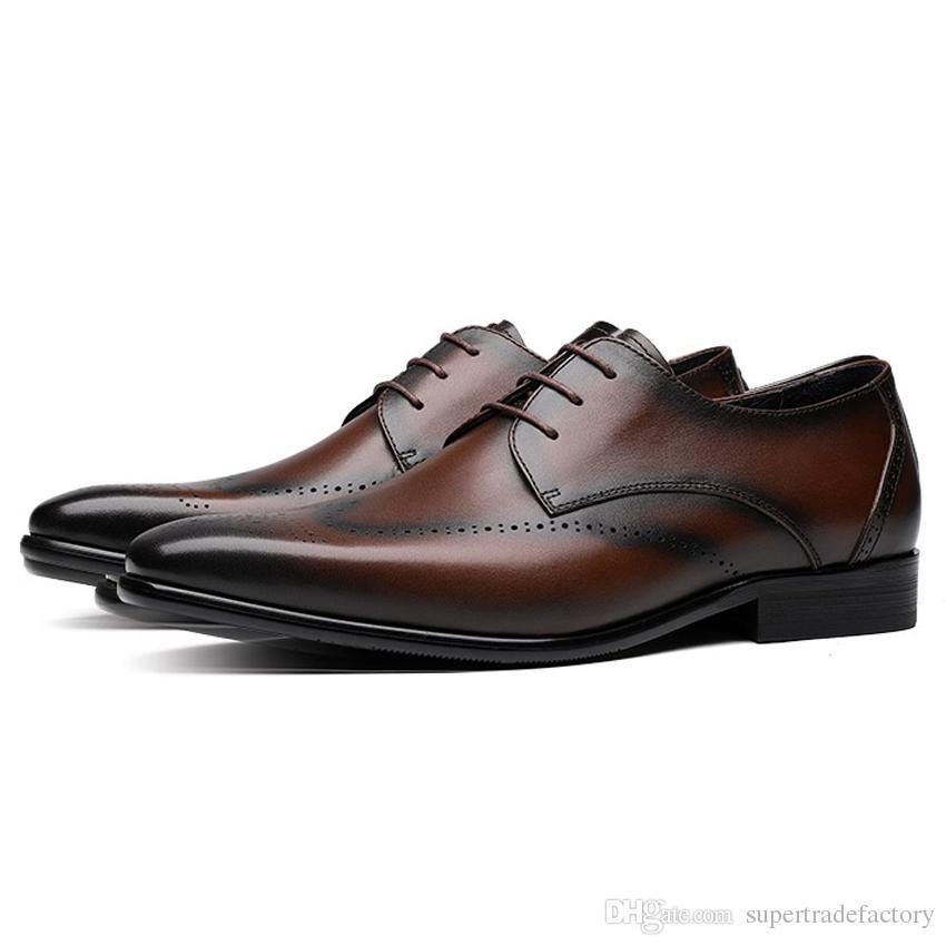 Couro Genuíno dos homens Respirável Calçado Apontou Toe Derby Man Vestido Formal Sapatos Brogue