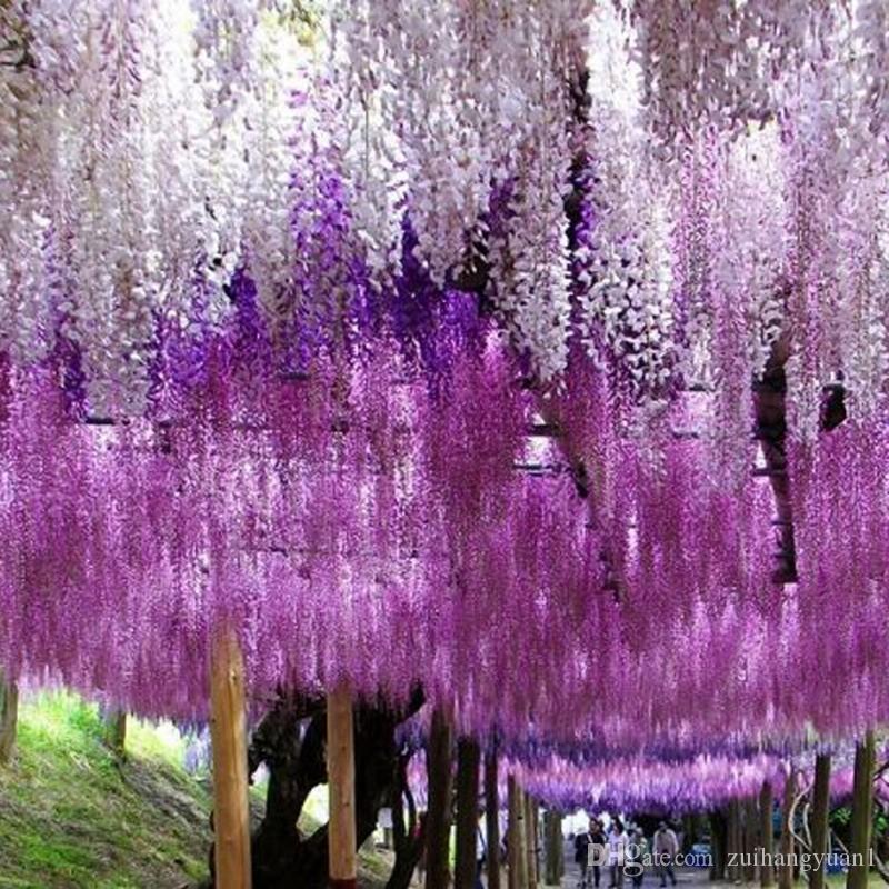 Глициния вино элегантный искусственный шелк поддельный цветок Глициния виноград ротанг для свадебных украшений центр штук украшения букет гирлянда