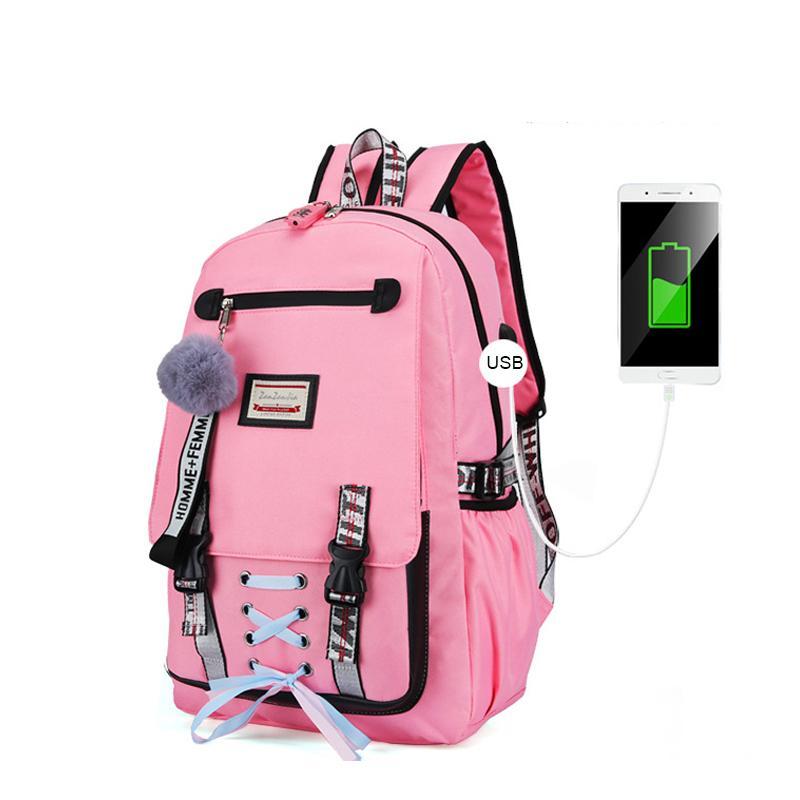 잠금 방지 도난 배낭 여성 도서 가방 가방 청소년 레저 대학 Dropshipping를 통해 청소년의 USB 용 대형 학교 가방을 Litthing