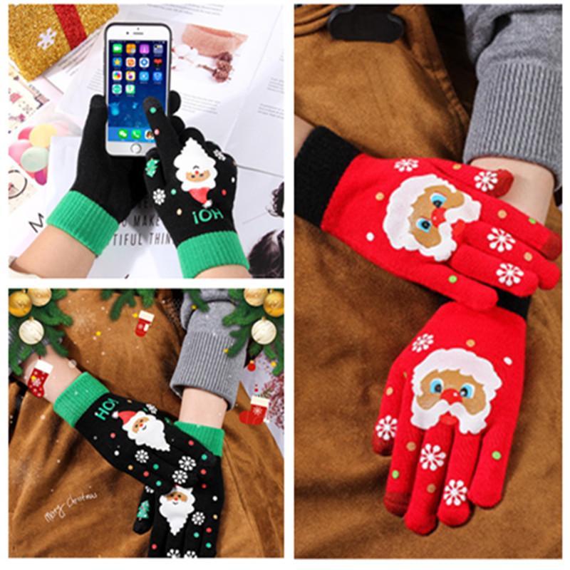 Перчатки сенсорных экрана Рождество шерсти трикотажных перчаток игры на открытых воздух теплых дамы печати сенсорного экрана мультфильм перчатку 2 цвета
