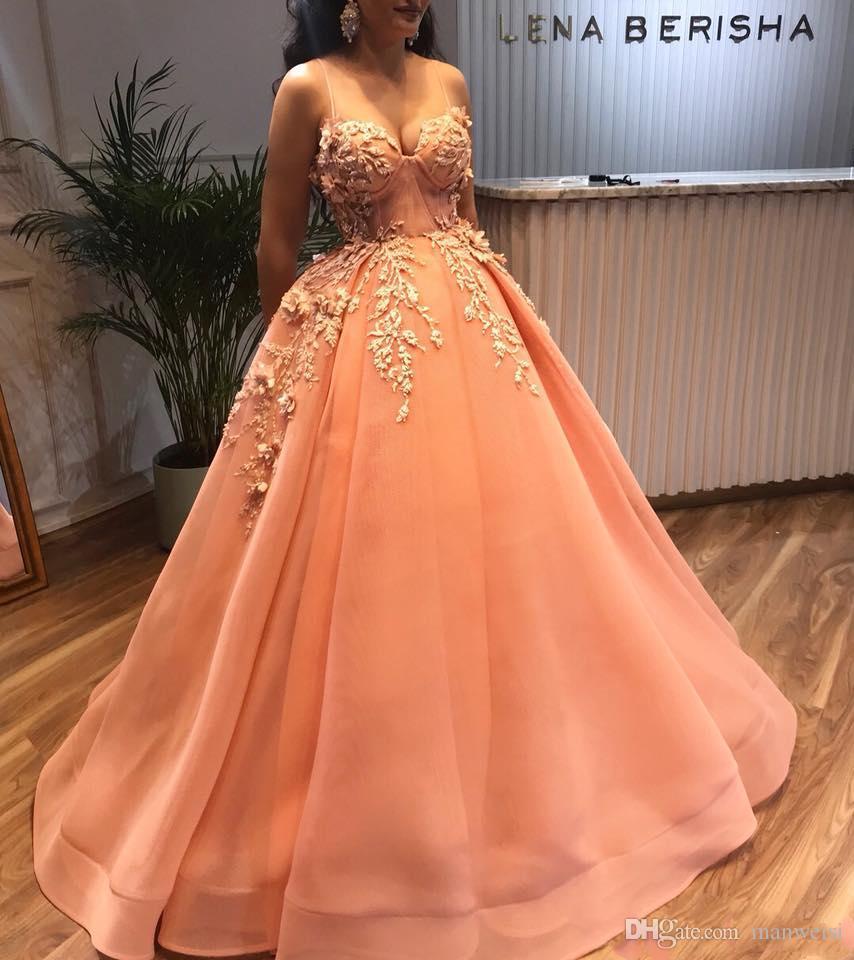 2019 vestidos de noche con cuentas árabes vestido de fiesta con cuello de espagueti vestido de fiesta Vestido de fiesta de dama de honor de la naranja formal sexy