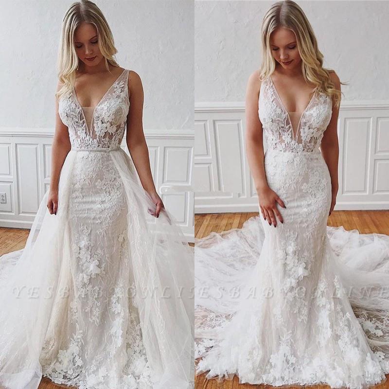Modestos vestidos de encaje de la sirena de 2020, con apliques de tren desmontable profundo cuello en V sin mangas de la ilusión Mariage Vestidos Vestidos