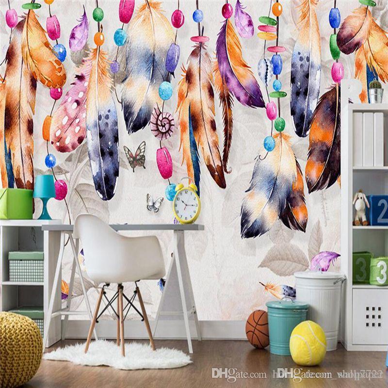 Papier peint moderne 3D peintures murales pour mur 3D plume bleue marbre TV fond d'écran autocollants Home Decor beauté Fonds d'écran 3D