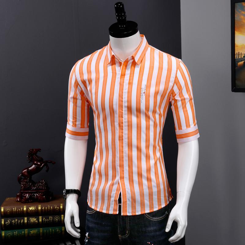 mens rayé chemises en coton 100% coupe slim robe chemise manches été moitié mode de haute qualité taille de style coréen M L XL XXL XXXL