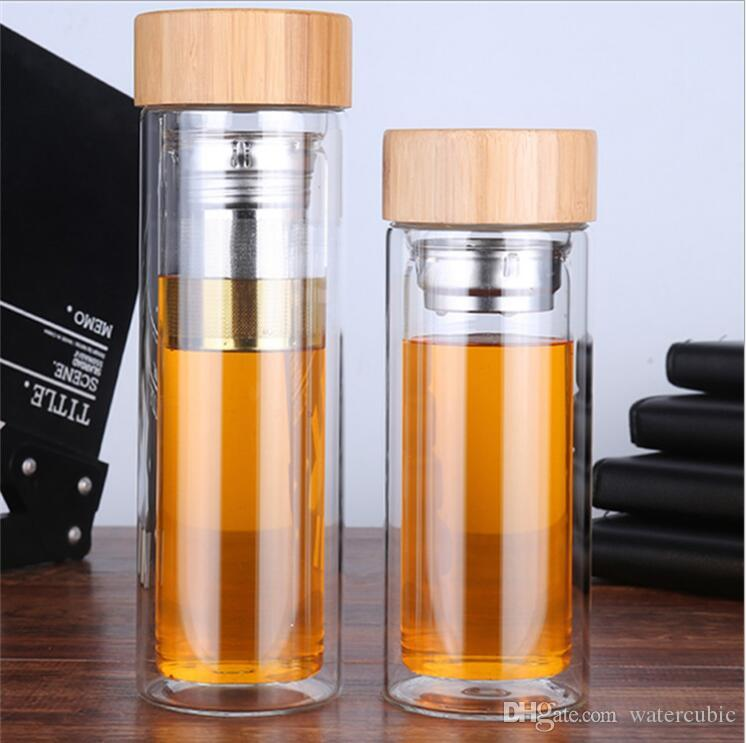 450ml Hot Selling Wholesale Double Wall Borosilicate Glass Water Bottle For Drinking With Tea Filter Infuser and Bamboo Lid Joyshaker Flask