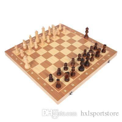 طوي مجموعة الشطرنج الخشبية الدولية لعبة الترفيه الشطرنج مجموعة طي مجلس التعليمية دائم ومقاومة للاهتراء الترفيه HXL