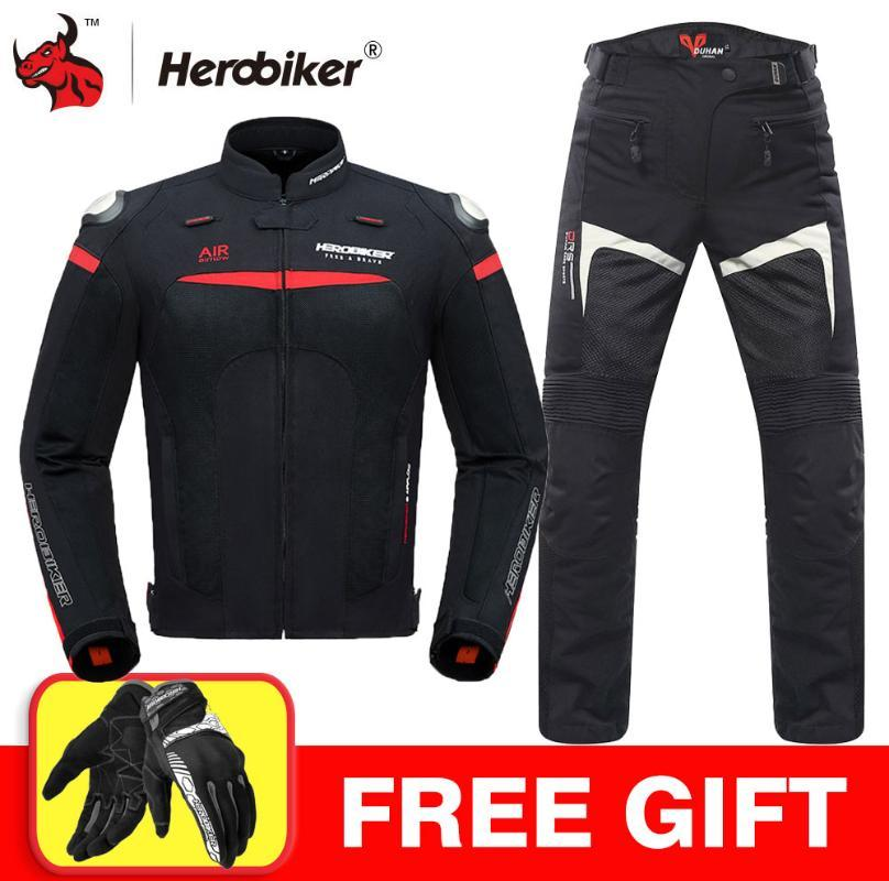 HEROBIKER veste moto nuit Reflection Moto Veste Équipement de protection respirante Mesh Hommes Motocross Courses tout-terrain