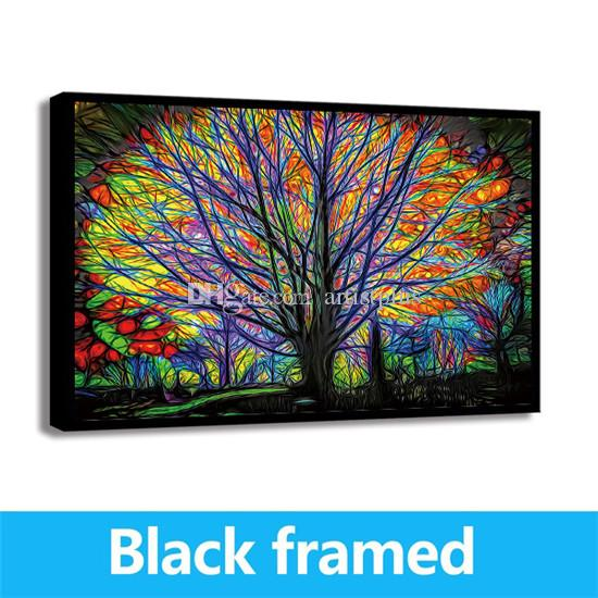 ABSTRACT COLOURFUL TREE BUTTERFLIES WALL ART PICTURE CANVAS PRINT READY TO HANG