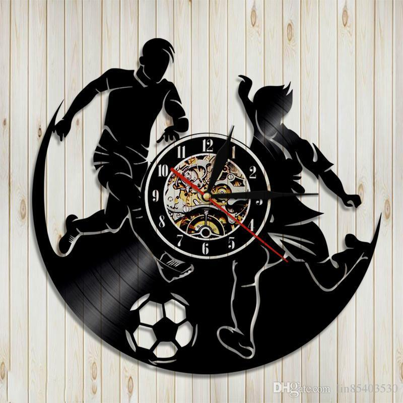 KingLive LED Wall Night Creative Record Clock Hanging Time Home Art Decor Unique Handm Made Gift for Meet Beail Unusual Football