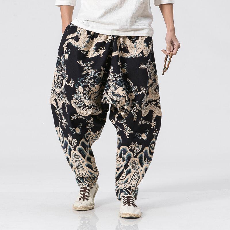 New Dragon impresión Harem Hombres estilo chino flojo ocasional de lino del algodón pantalón del basculador de pantalones para hombre Pantalones Streetwear CJ191210