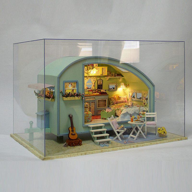 Viaggio Caravan Fai da te Tour Of Time in legno casa delle bambole kit in miniatura casa delle bambole Led Music Box controllo vocale kit fatti a mano per le ragazze Y19070503