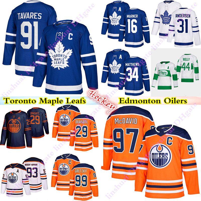 Toronto Maple Leafs Jersey 91 John Tavares 16 Marner 34 Matthew Edmonton Oilers Jerseys 97 Connor McDavid 99 Wayne Gretzky Hockey Jerseys