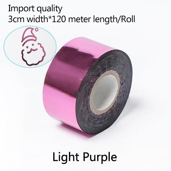 Transferência 3CM * 120 metros / Luz Cor Púrpura Rolls Hot Stamping Papel térmico anodizado papel dourado para Couro PU Carteira Hot Stamping