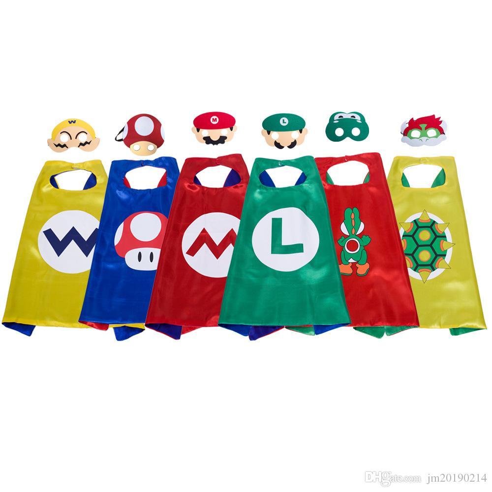 Heiß ! 6 Styel Luigi Bros Cape mit Masken-Cosplay für Kind-Halloween-Party Lange 70cm