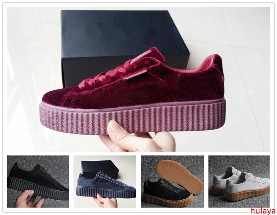 Женская Rihanna Riri Fenty Платформа Creeper Бархатная Упаковка Бордовый Черный Серый Цвет Бренд Женская Классическая Повседневная Обувь 36-39