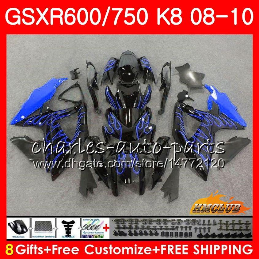 Carrocería Llamas azules calientes Para SUZUKI GSX-R600 GSXR-750 GSXR600 2008 2009 2010 9HC.56 GSXR750 GSX R750 R600 K8 GSXR 600 750 08 09 10 Carenados
