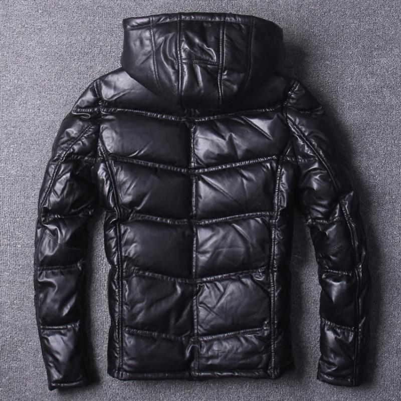Erkek Slim Fit Kalın Gerçek Deri Kapşonlu Ceket Streetwear Siyah Aşağı Jacket Duck Koyun postu Gerçek Deri Kısa Coat Kış Zip