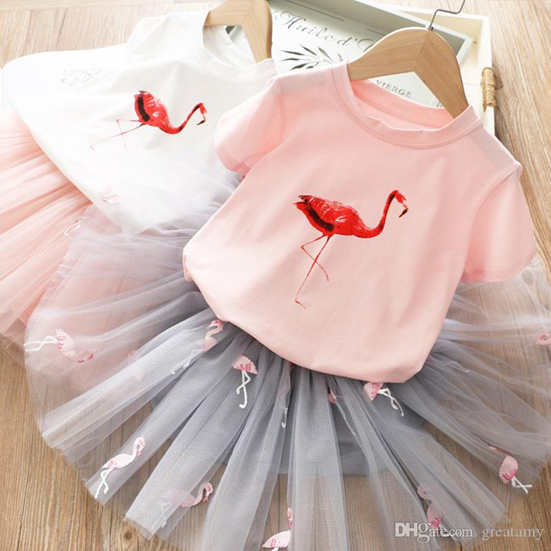 Kids Cute Cartoon Printed Flamingo T-shirt + mesh Skirt 2pcs dress set for summer baby girl sweet outfits cake layer tutu dresses suit