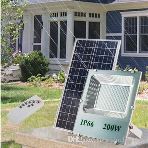 Outdoor Solar LED Flood Lights 200W 120W 100W 70-85LM Lamp Waterproof IP67 Lighting Floodlight Rechargable Battery Panel Power Direct China