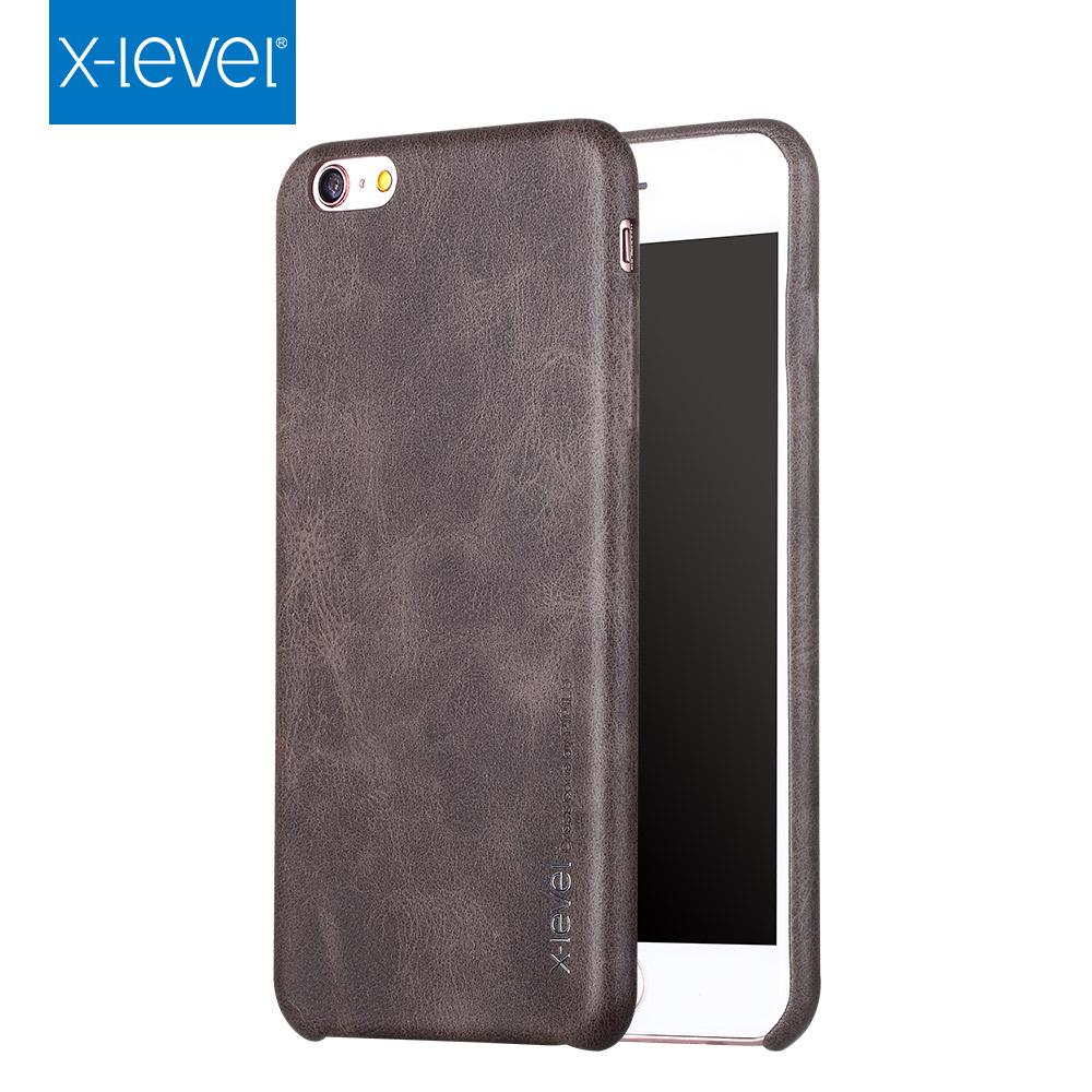 X-Level Luxury PU Leather Case For iPhone 8 7 Plus 6 6S Plus 5 5S SE Back Cover for iPhone SE 5S 5 6 6S 7 8 Plus Vintage Cases
