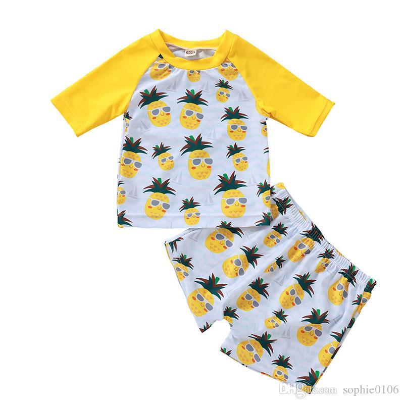 Meninos Meninas da praia abacaxi Imprimir manga curta Swimwear Suit duas peças Children O-Neck Tops e Trunk Swim Suit crianças Verão Roupa de Natação