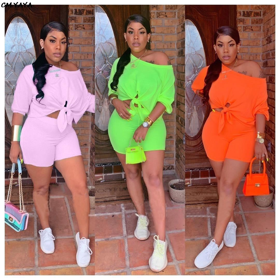 2019 Women New Summer Three Quarter Length Sleeve Tie Up Hem Off Shoulder Top Shorts Suit Two Piece Set Tracksuit Outfit Q5102 Y19062201