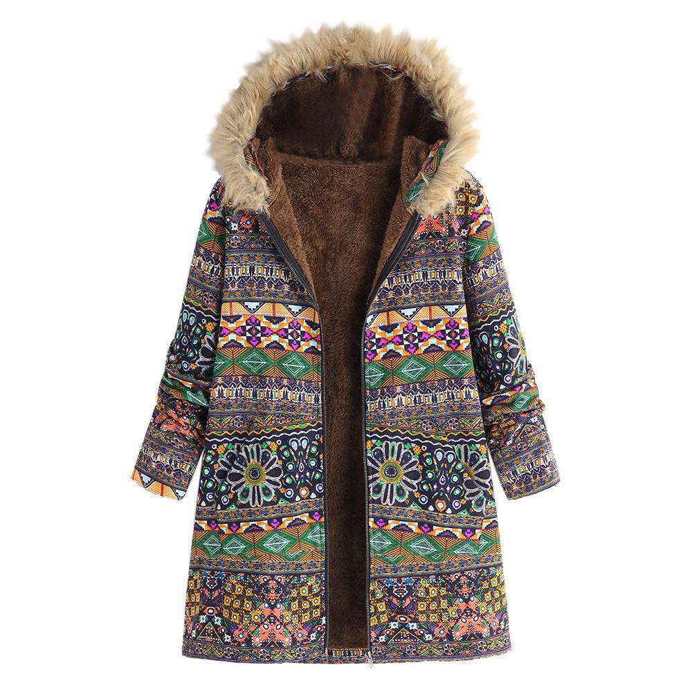 Womens Winter Warm Outwear Floral Print Hooded Pockets Vintage Oversize Coats Winter Jacket Womens Outwear Parkas for Women