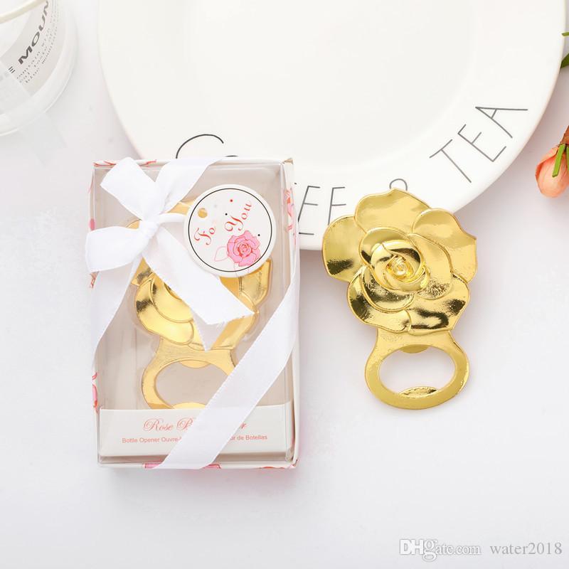 Роза Бутл открывалка золото розы Форма бутылки пива открывалка Свадебные сувениры Обручальное душ событие Keepsake Free DHL