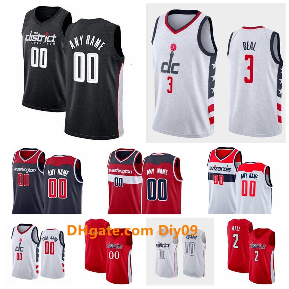 Özel WashingtonSihirbazlarJersey Rui 8 Hachimura Bradley 3 Beal John 2 Duvar Thomas 13 Bryant swingman Basketbol Formalar Beyaz Siyah