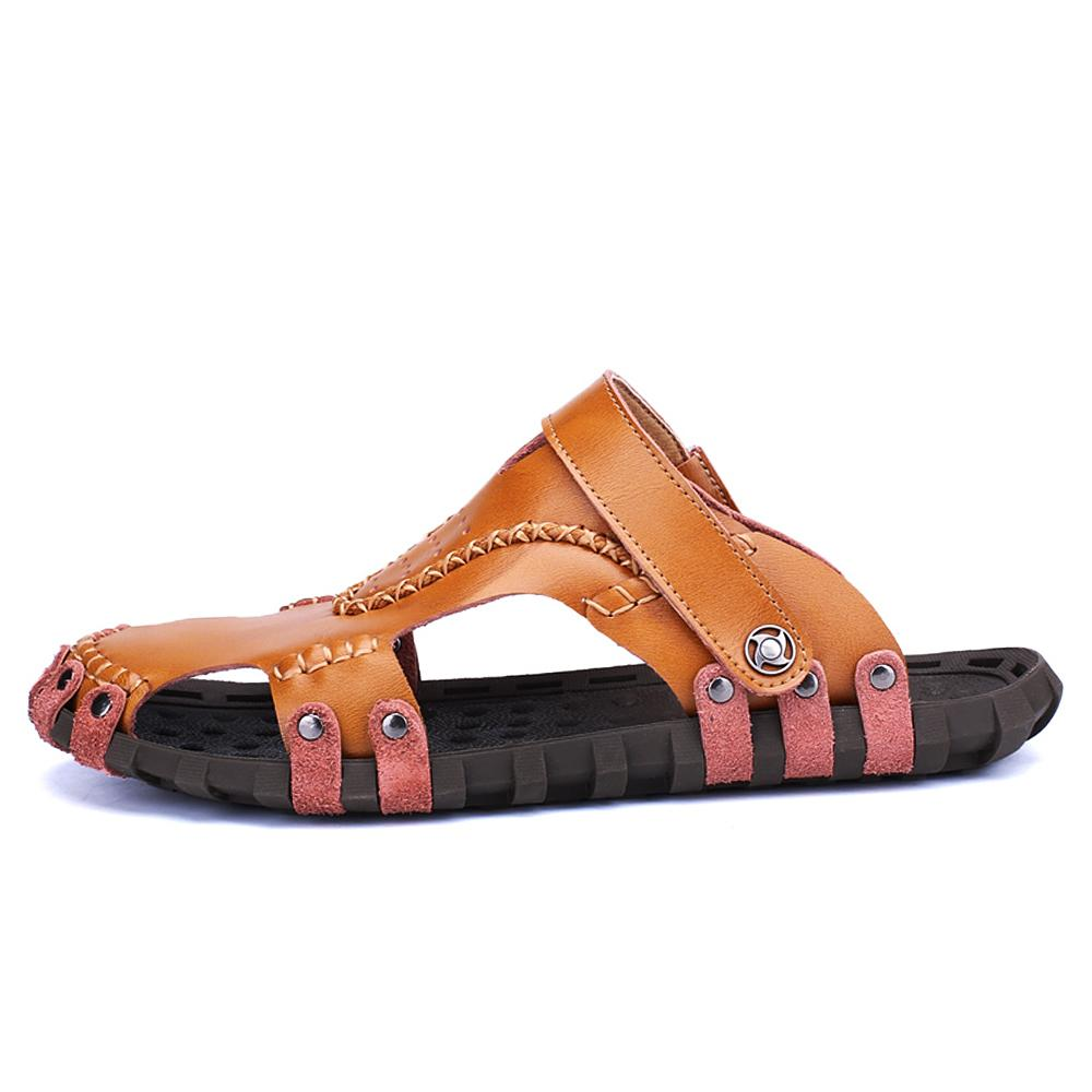 EnlenBenna Genuine Leather Sandals Outdoor Sneakers Men Summer Causal Shoes Beach Flip Flops Rubber Non-slip Slippers Breathable