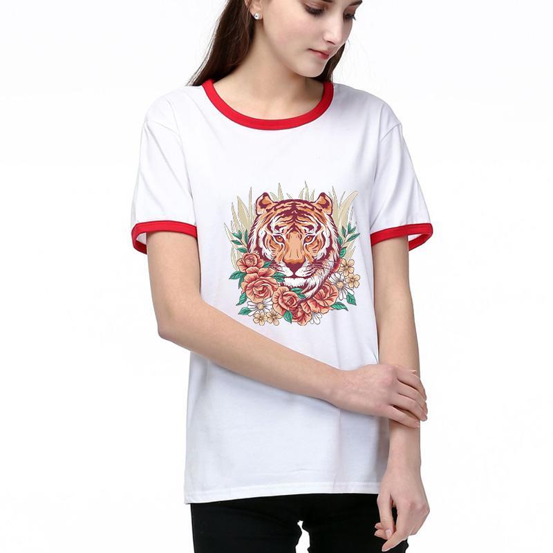 de las mujeres camiseta de 2020 nueva llegada ocasional del verano tendencia de la moda de impresión del Gentlewoman de la camiseta de manga corta de las mujeres de 2 colores Tamaño Seleccionado S-2XL