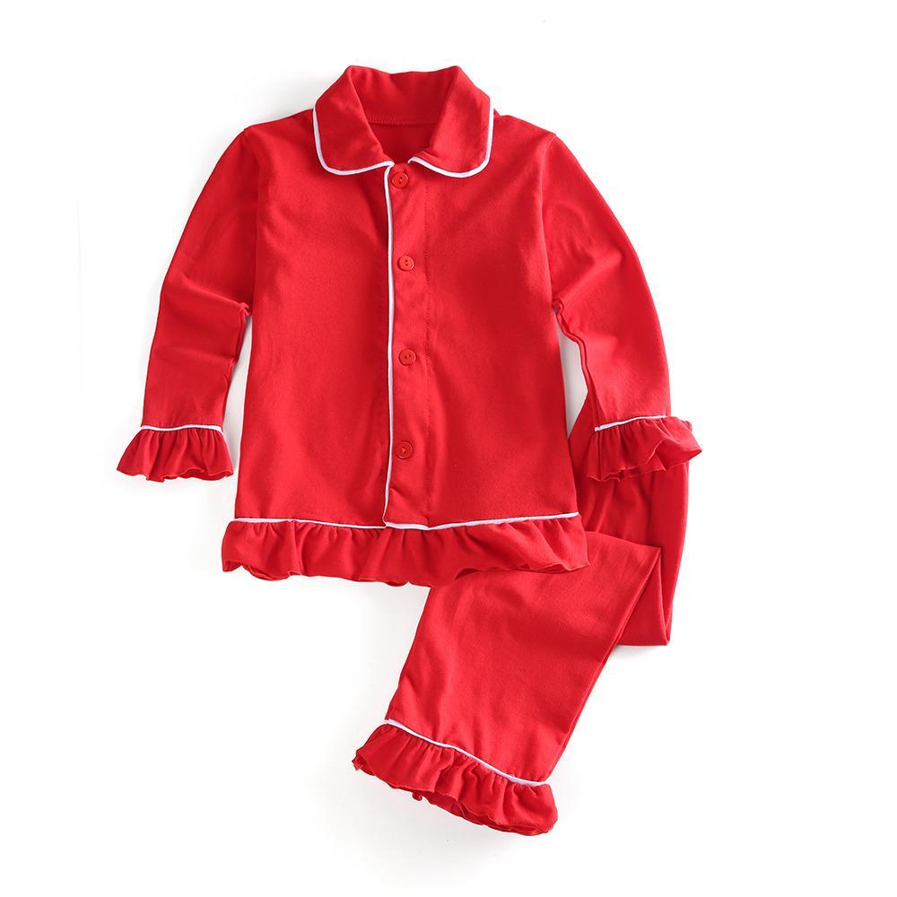 Bambini vestiti 100% cotone tinta unita sveglia di inverno pigiama rosso con volant bambina boutique Natale homewear manicotto pieno PJS Y200704