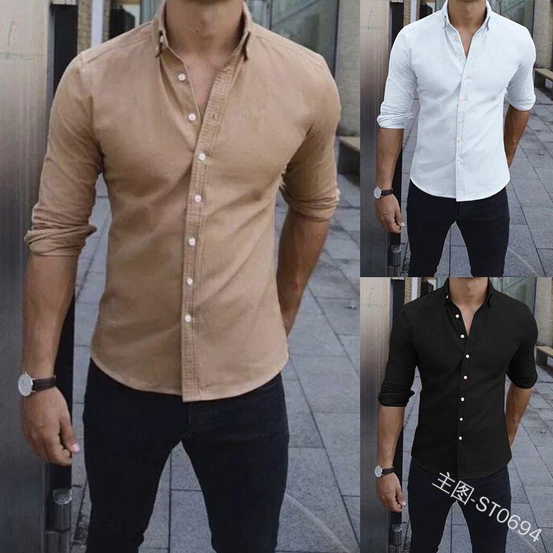 28dbbfa91 Compre 2019 Moda Camisas De Manga Larga Para Hombres Camisas Casuales Para  Hombres Hombres Más Tamaño Camisa Para Hombres A $17.11 Del Donnatang240965  ...